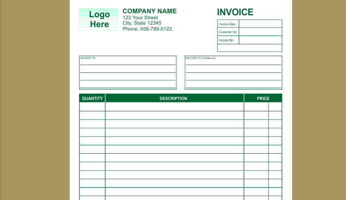 Invoice template indesign