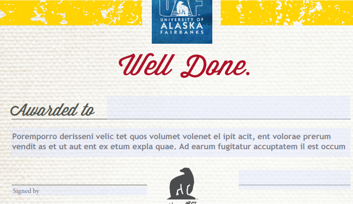 uaf certificate template