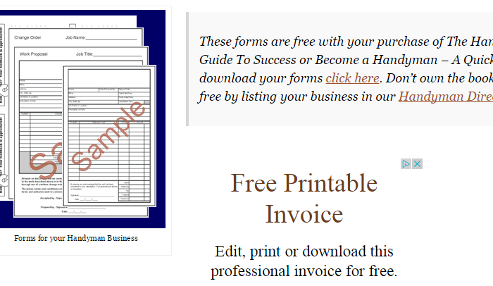 handyman invoice template  af templates ask the handyman