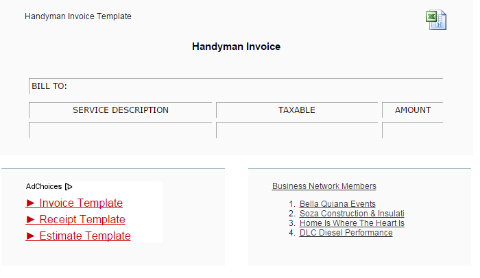 handyman invoice template  af templates atyourbusiness this handyman invoice