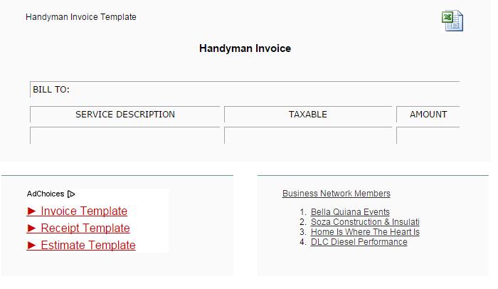Free Handyman Invoice Template - Handyman estimate template
