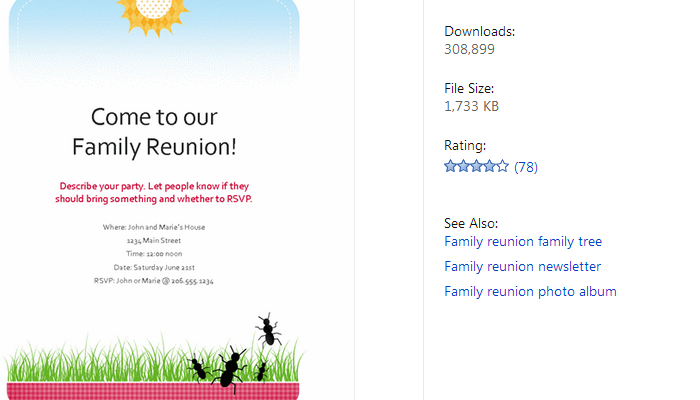 Microsoft Office Family Reunion Template  Free Printable Family Reunion Templates