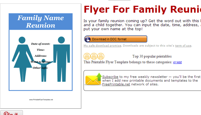 Printable Flyer Templates Family Reunion