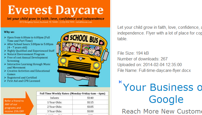 5 daycare flyers templates af templates for Daycare brochure template