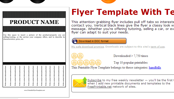 5 pull tab flyer templates af templates for Tab templates for word