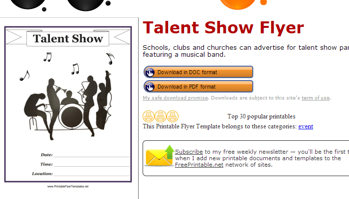 Talent Show Flyer Templates  Af Templates