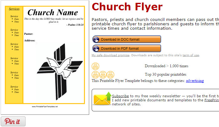 photograph relating to Free Printable Flyers for Church titled 5 Absolutely free Church Flyer Templates AF Templates
