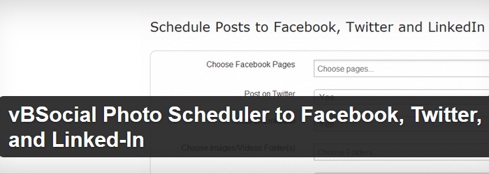 vBSocial Photo Scheduler to Facebook, Twitter, and Linked-In