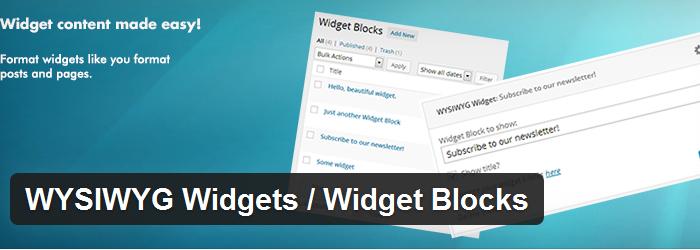 WYSIWYG Widgets